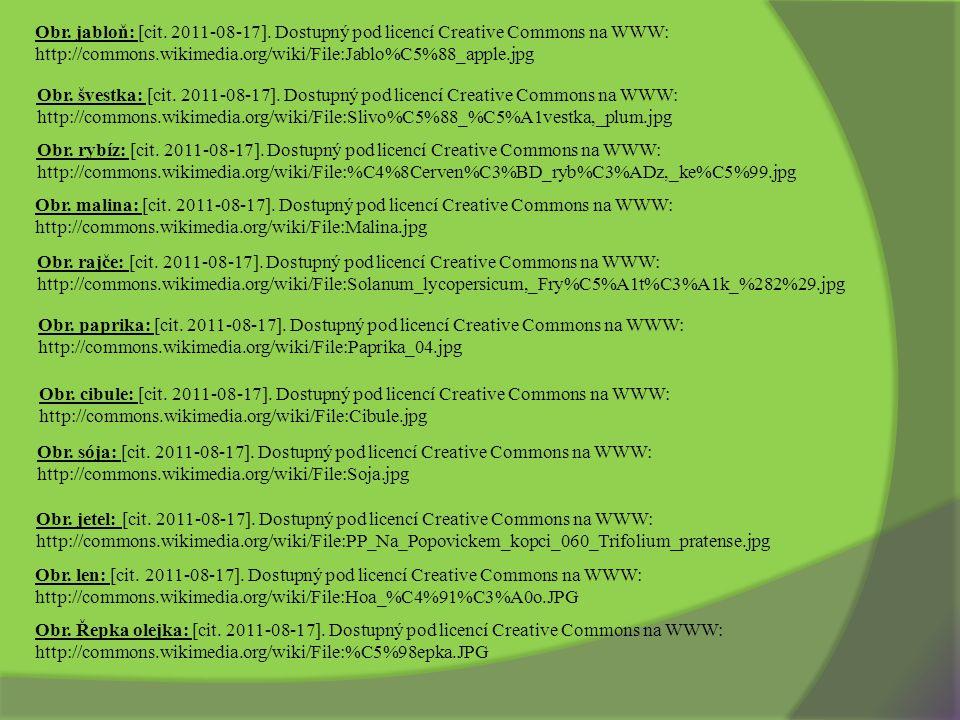 Obr. jabloň: [cit. 2011-08-17]. Dostupný pod licencí Creative Commons na WWW: http://commons.wikimedia.org/wiki/File:Jablo%C5%88_apple.jpg